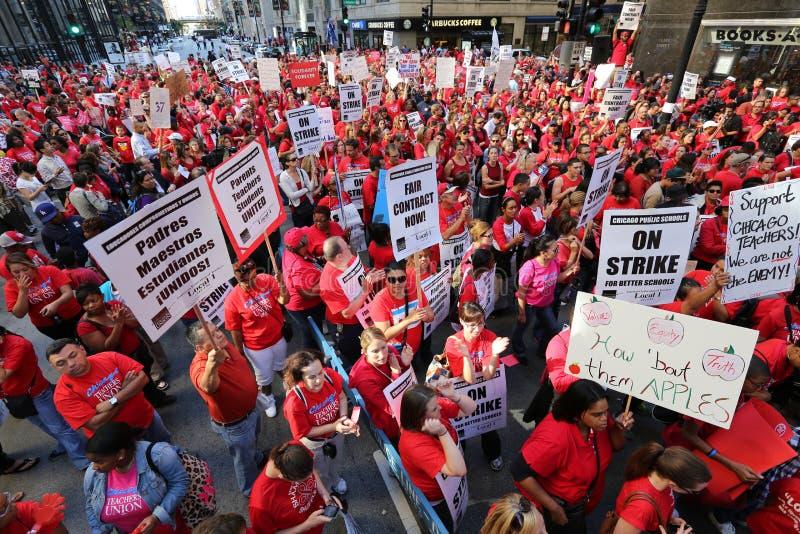 Huelga 2012 de los profesores de Chicago foto de archivo