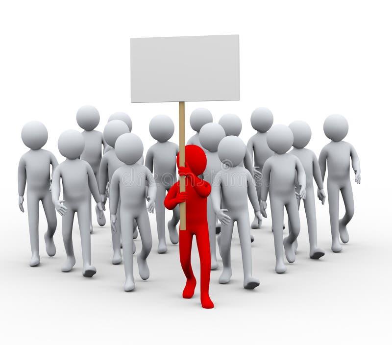 huelga de la protesta de la gente del líder 3d stock de ilustración