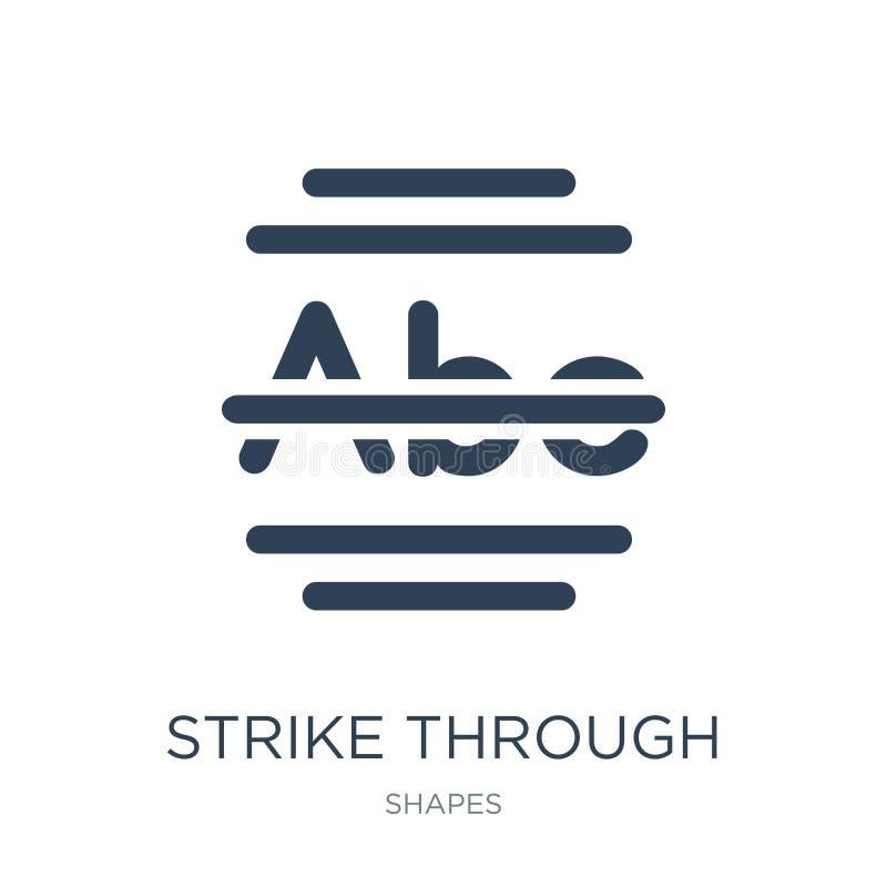 huelga a través del icono en estilo de moda del diseño huelga a través del icono aislado en el fondo blanco huelga a través del i stock de ilustración