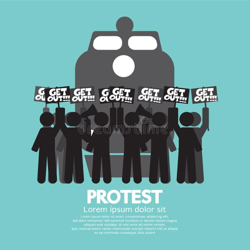 Huelga y protesta de los trabajadores del tren libre illustration