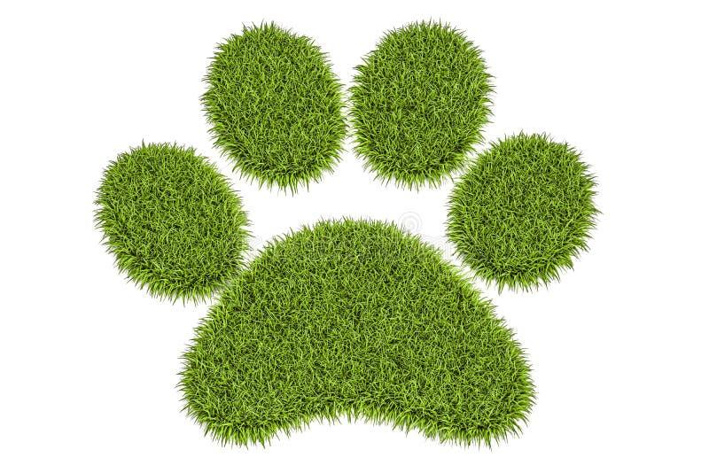 Huella animal de la hierba verde, representación 3D ilustración del vector