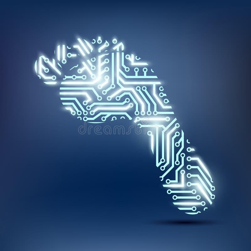 Huella como microprocesador ilustración del vector