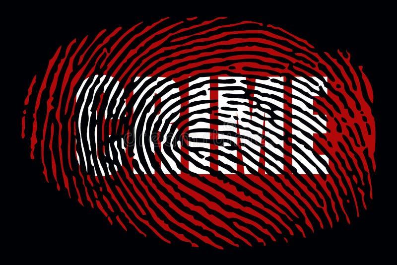 Huella dactilar con el ` del CRIMEN del ` de la palabra stock de ilustración