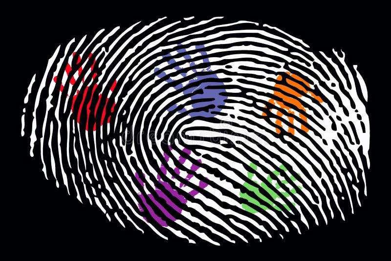 Huella dactilar con la muestra de la mano dentro libre illustration