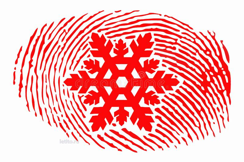 Huella dactilar con un copo de nieve en el centro ilustración del vector