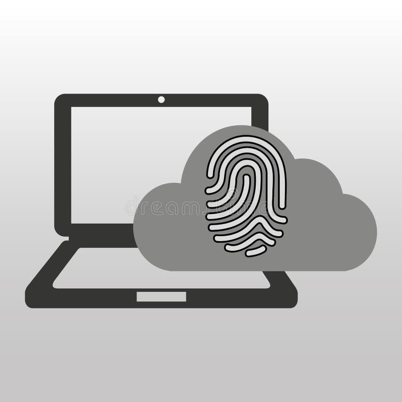 Huella dactilar conectada ordenador de la nube segura libre illustration