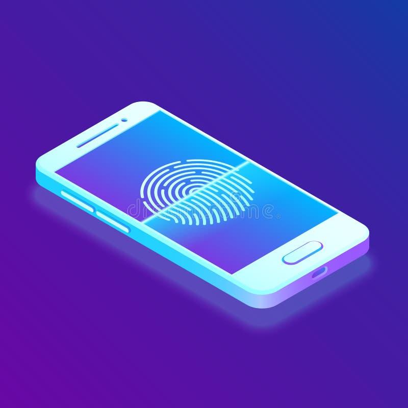 Huella dactilar de exploración en smartphone Desbloquee el teléfono móvil Seguridad de la biométrica Smartphone de la pantalla tá ilustración del vector