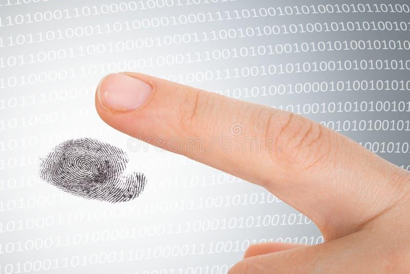 Huella dactilar de exploraci?n - concepto de la seguridad fotos de archivo libres de regalías