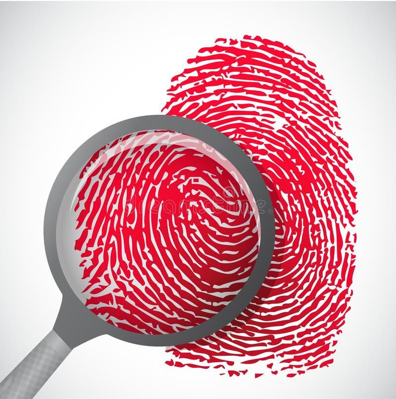 Huella dactilar de la sangre a través de la lupa ilustración del vector