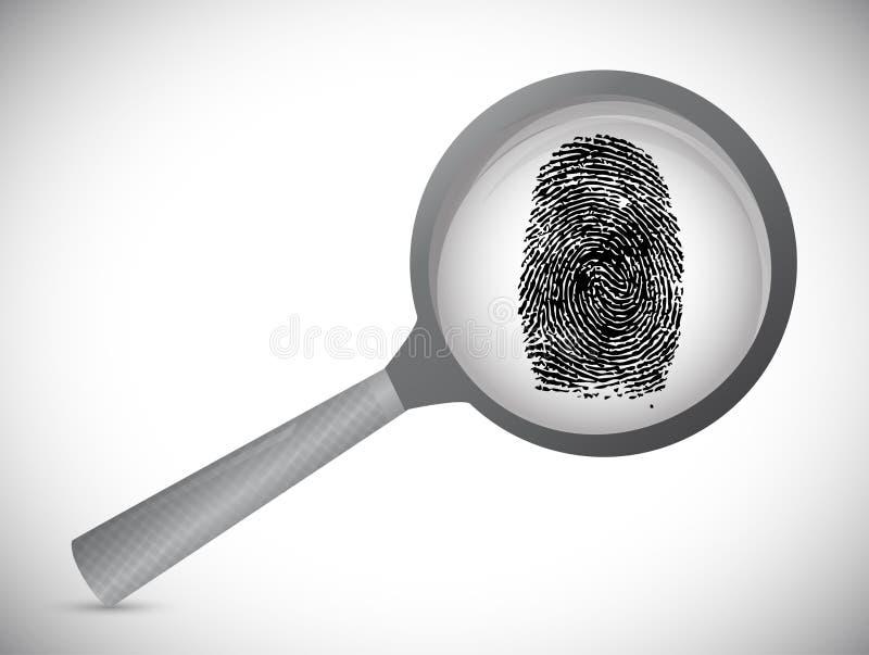 Huella dactilar debajo de un vidrio del magnificar. ejemplo stock de ilustración