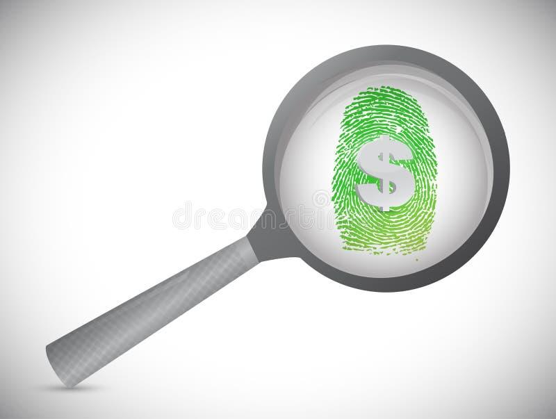 Huella dactilar del dinero debajo de un vidrio del magnificar. ilustración del vector