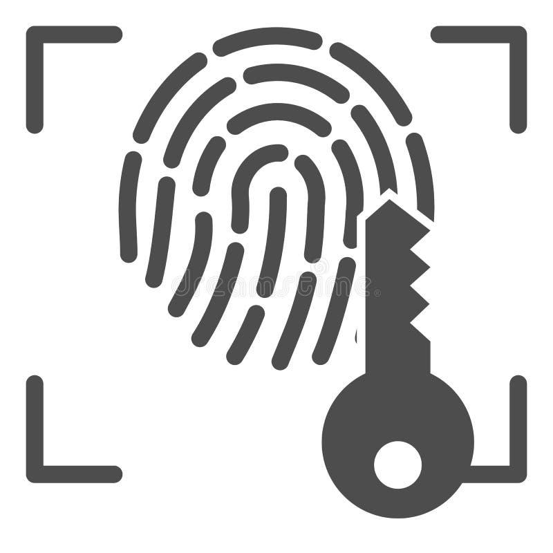 Huella dactilar e icono sólido dominante Ejemplo del vector del acceso de la identificación de la impresión aislado en blanco Gly stock de ilustración