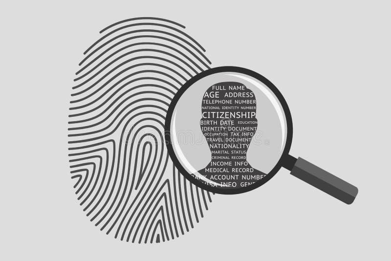 Huella dactilar e información personal ilustración del vector
