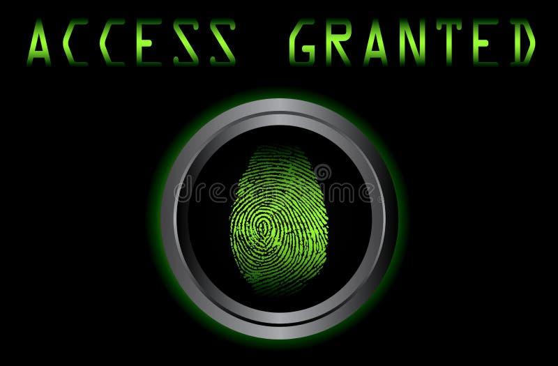 Huella dactilar en el acceso del escáner concedido ilustración del vector