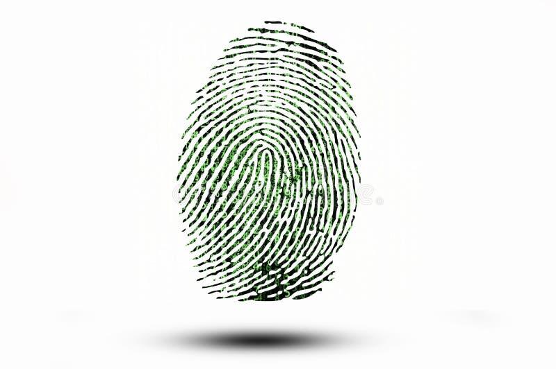 Huella dactilar en el fondo del código binario