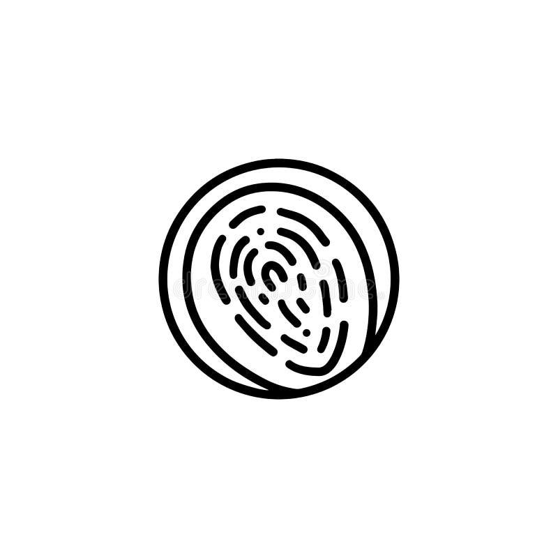 Huella dactilar redonda en estilo plano del icono del círculo Logotipo del vector para la identificación de la seguridad de la pe libre illustration