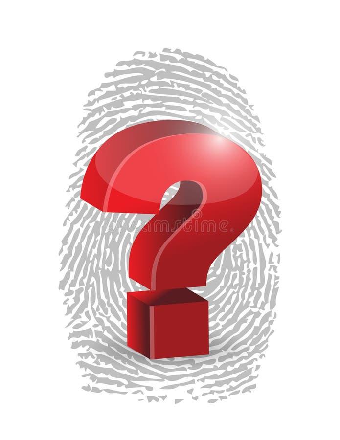 Huella dactilar y diseño del ejemplo del signo de interrogación stock de ilustración