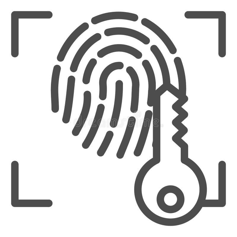 Huella dactilar y línea dominante icono Ejemplo del vector del acceso de la identificación de la impresión aislado en blanco Esqu stock de ilustración