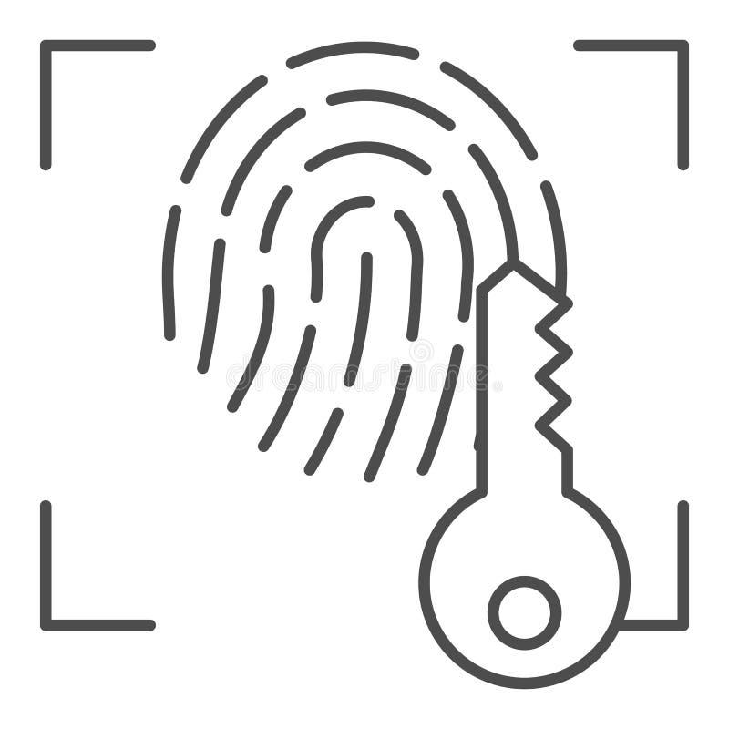 Huella dactilar y línea fina dominante icono Ejemplo del vector del acceso de la identificación de la impresión aislado en blanco stock de ilustración