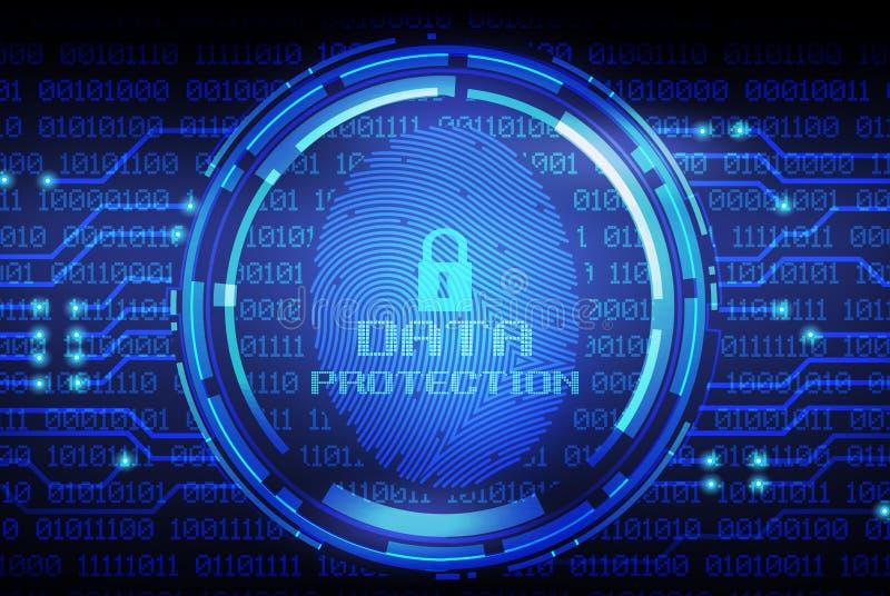 Huella dactilar y protección de datos en la pantalla digital ilustración del vector