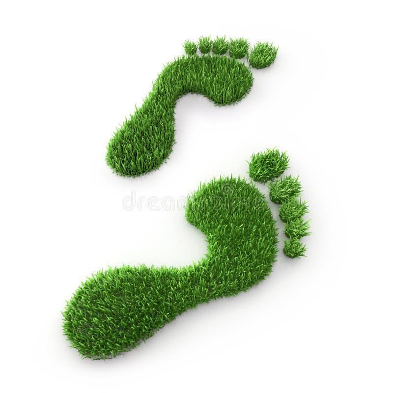 Huella de la hierba verde dos - ejemplo de la ecología 3D ilustración del vector