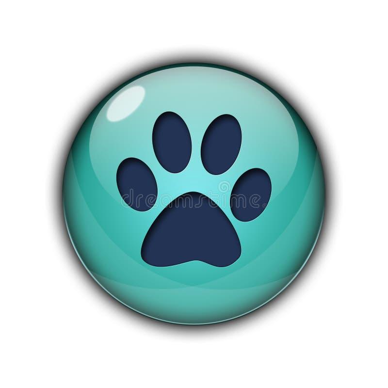 Huella del icono del color del azul del perro stock de ilustración