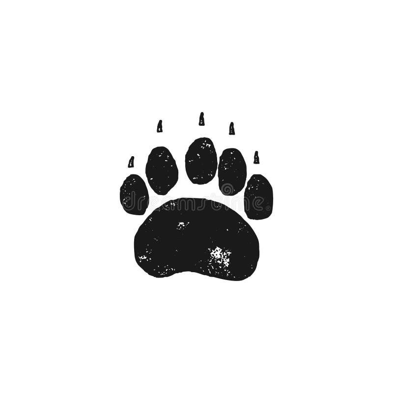 Huella del oso Pata del animal salvaje en estilo de la silueta Icono negro del pie del grisáceo Vector común aislado en el fondo  stock de ilustración
