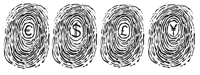 Huella digital con símbolos de dinero en circulación ilustración del vector