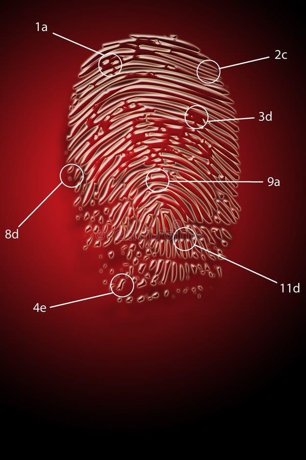 Huella digital de la seguridad del hurto   ilustración del vector