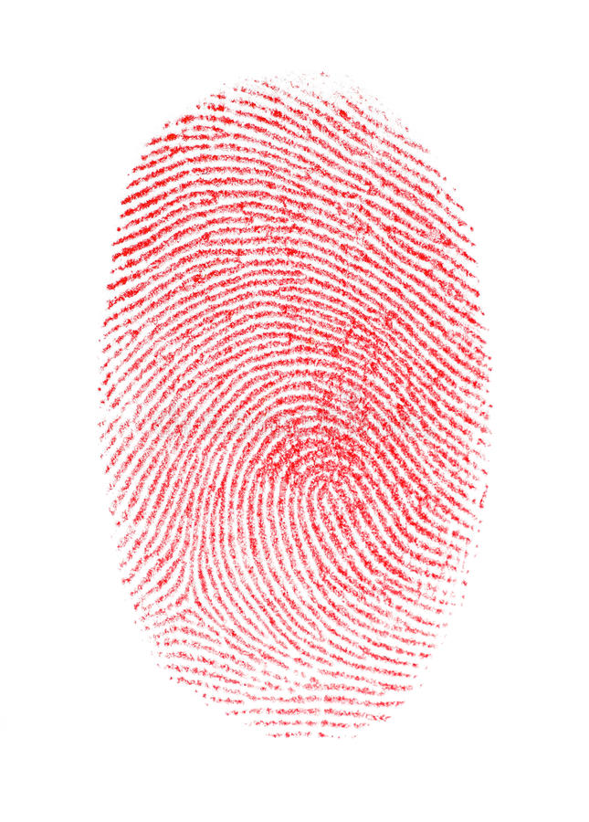 Huella digital roja ilustración del vector