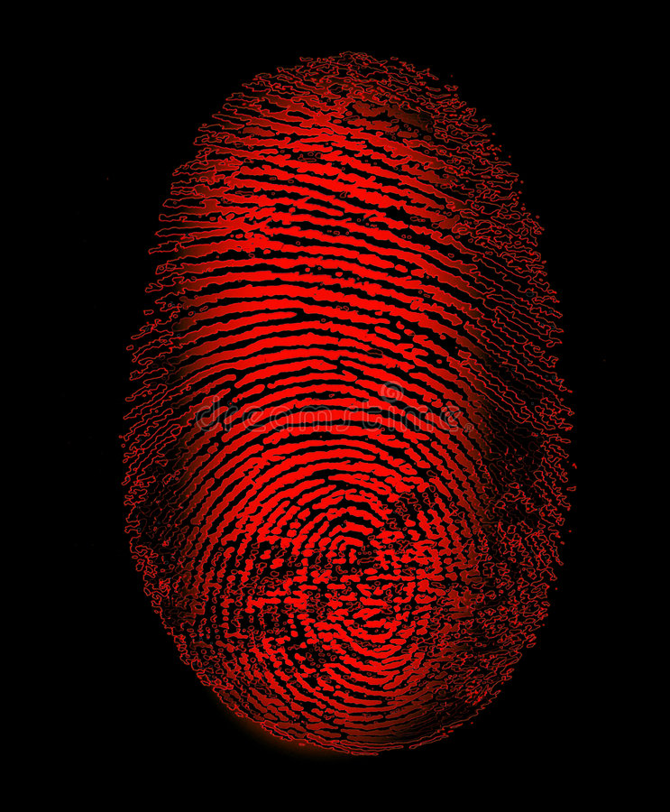 Huella digital roja foto de archivo libre de regalías