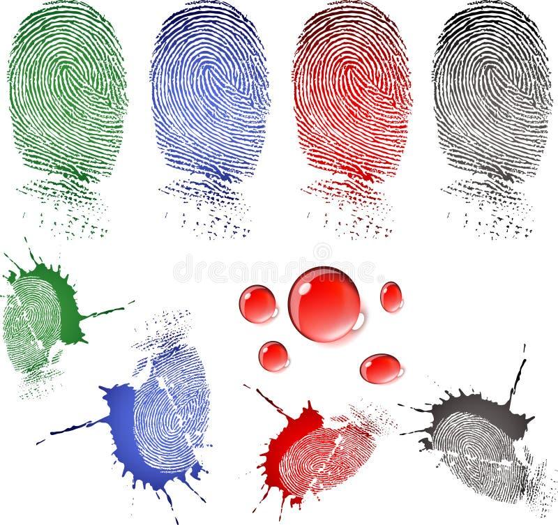 Huella digital y gotas de sangre stock de ilustración