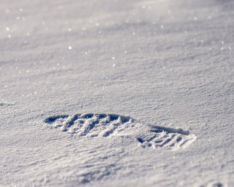 Huella en la nieve fotos de archivo