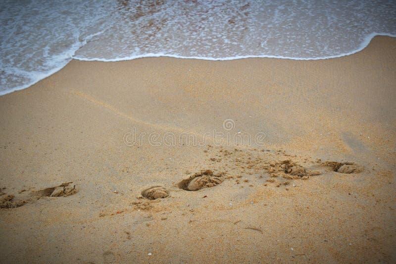 Huella en una playa fotografía de archivo