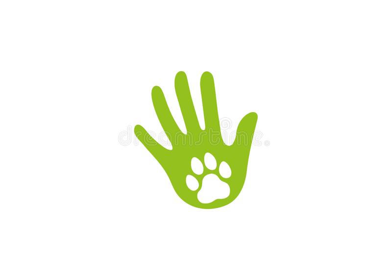 Huella humana abstracta creativa Logo Design Vector Symbol Illustration del perro de la lámpara libre illustration