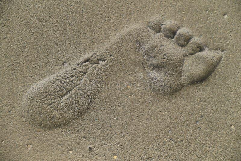 Huella humana en arena imagenes de archivo