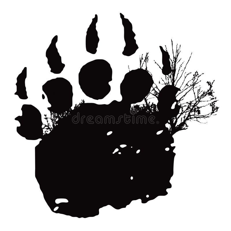 Huella, impresión de la pata de oso stock de ilustración