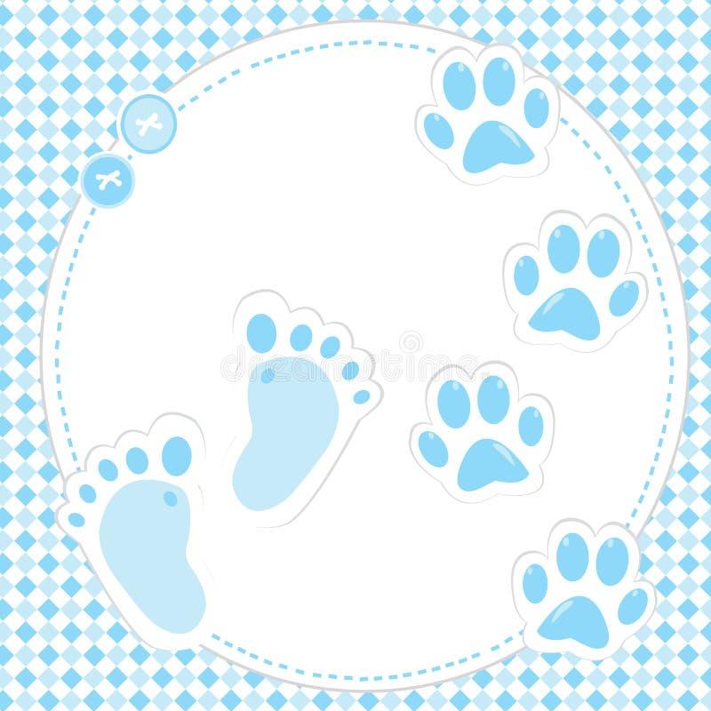 Huella linda y patas del bebé stock de ilustración