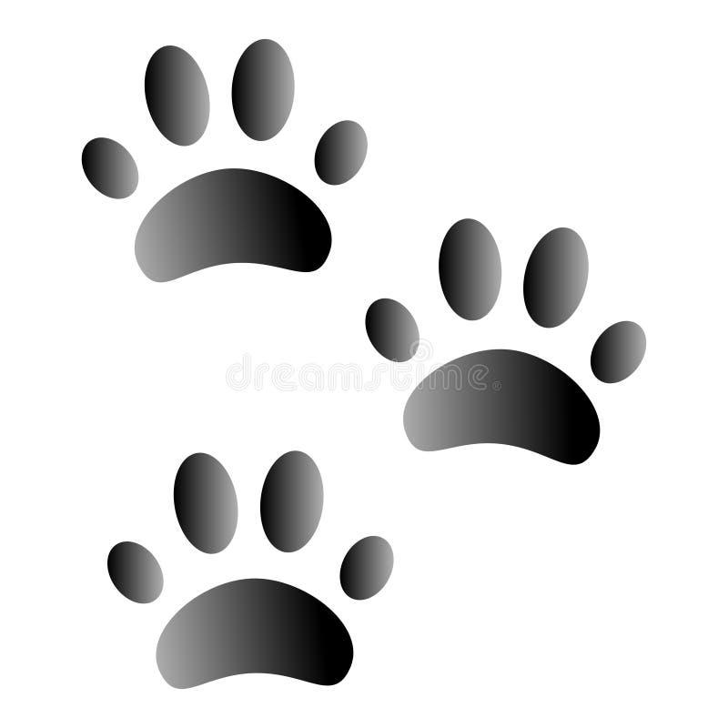 Huellas animales en el fondo blanco fotografía de archivo