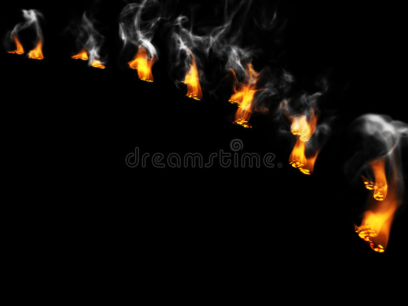 Huellas ardientes imágenes de archivo libres de regalías