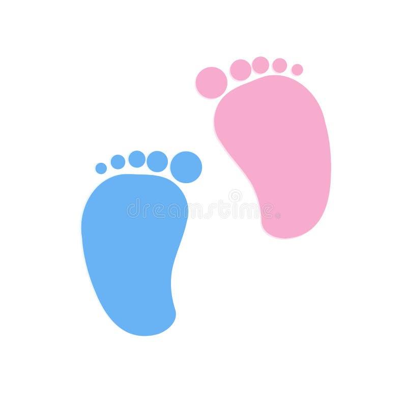 Huellas bebé y muchacho gemelos del bebé stock de ilustración