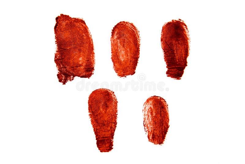 Huellas dactilares sangrientas imagenes de archivo