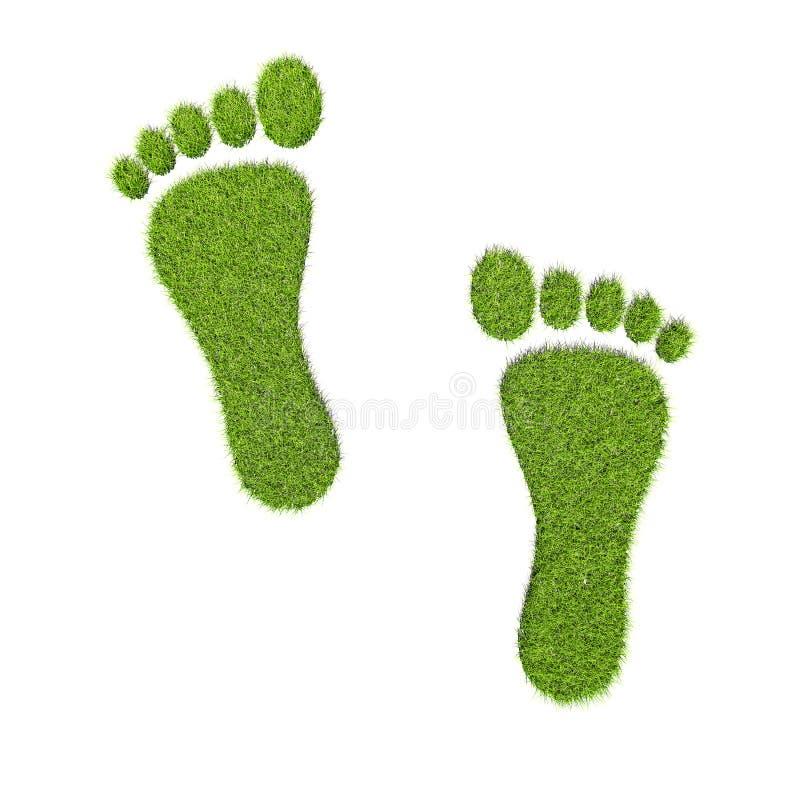 Huellas de la hierba verde en el fondo blanco libre illustration