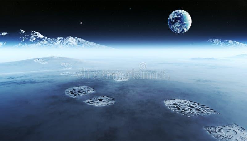 Huellas en el planeta extranjero stock de ilustración