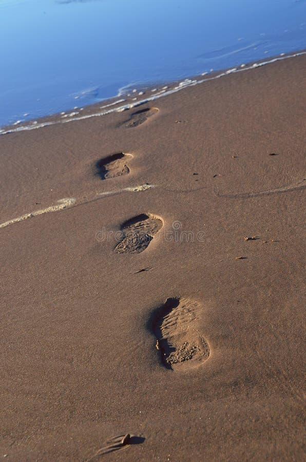 Huellas en la arena que desaparece en el mar Báltico imagen de archivo libre de regalías