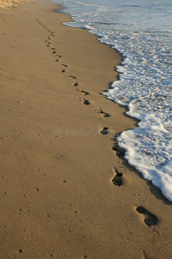 Huellas en la playa imágenes de archivo libres de regalías