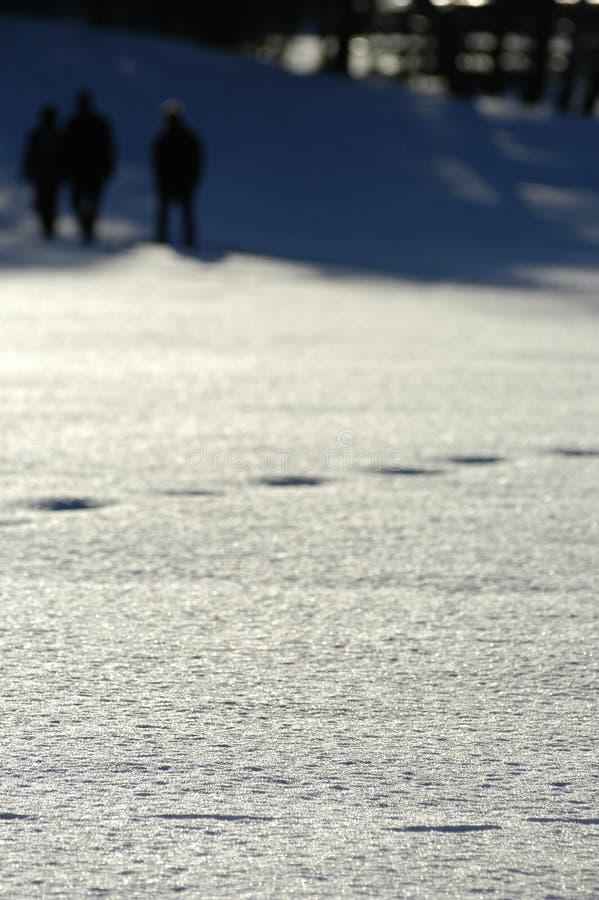 Huellas en nieve foto de archivo