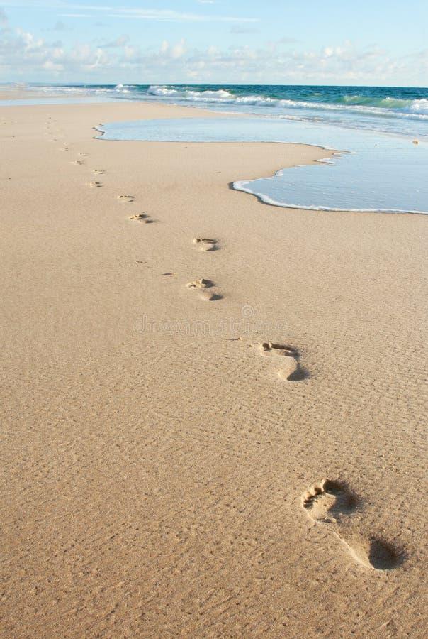 Huellas humanas en la arena de la playa fotos de archivo