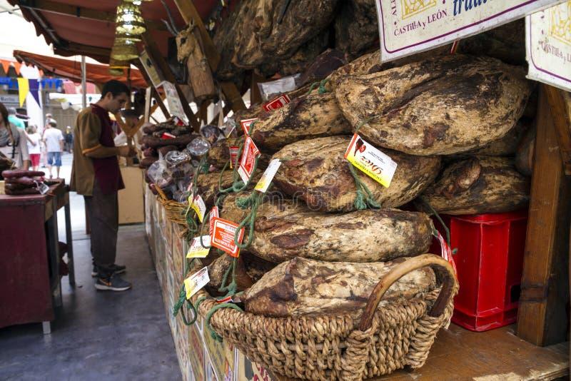 Meat shop sell beef, pork, deer, goat, bull in Huesca, Aragon. HUESCA, SPAIN - SEPTEMBER 26, 2015 : Meat shop sell beef and pork, deer and goat and bull in stock photos