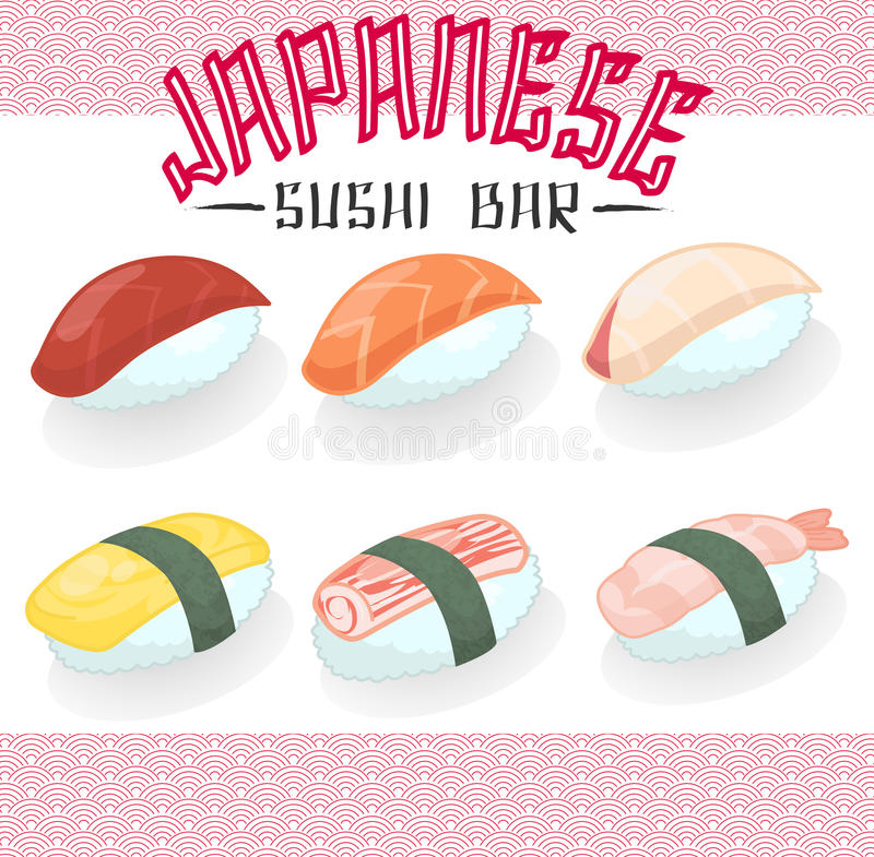 Huevo bajo del dulce del hamachi de la cocina de la comida del atún de color salmón japonés del sushi stock de ilustración